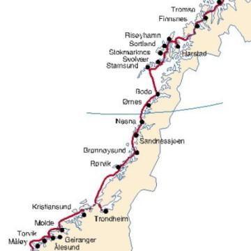 Hurtigruten karta Norges kust