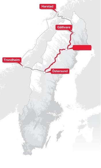 Inlandsbanan and Hurtigruten map