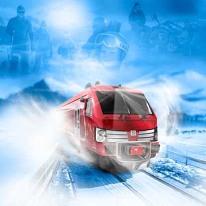 Fjälltåget profilbild med tåg i vinterlandskap