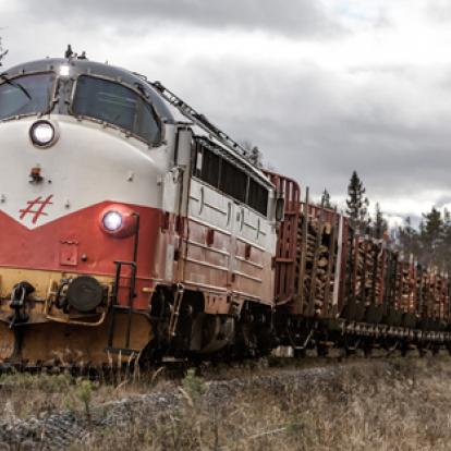 Timmertransport på Inlandsbanan