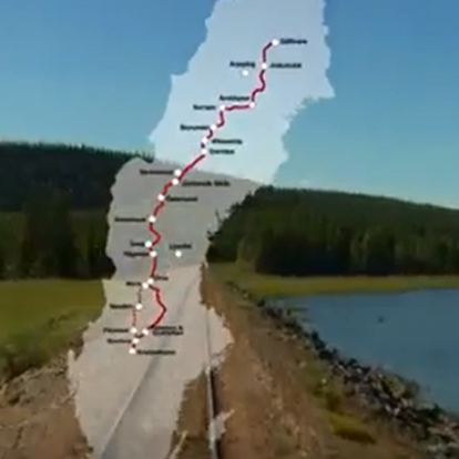 Karta över Inlandsbanans sträckning