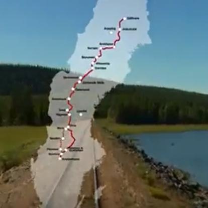 Map over Inlandsbanan