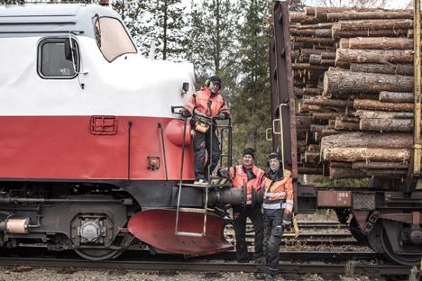 Växling av timmervagnar