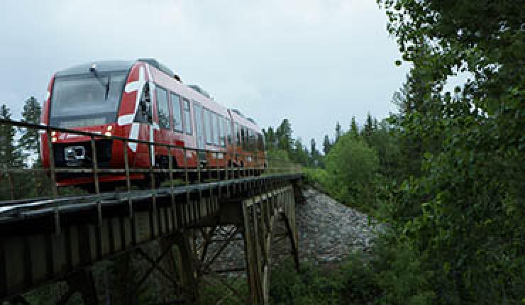Inlandsbanans nya tåg Alstom Lint 41 vid Storstipet.