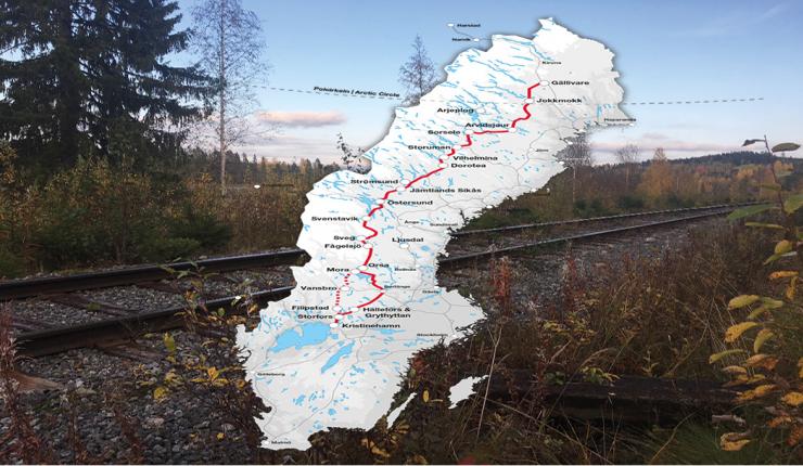 karta här går Inlandsbanan